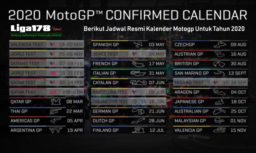 Berikut Jadwal Resmi Kalender Motogp Untuk Tahun 2020.